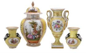 A selection of Continental yellow ground porcelain