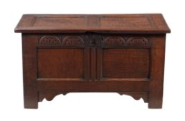 A carved oak two panel coffer