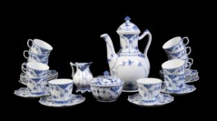 A modern Royal Copenhagen blue and porcelain 'Fluted Half Lace' pattern part coffee service