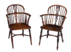 Two similar yew and elm armchairs