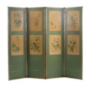 A green painted and silver leather mounted four-fold room screen