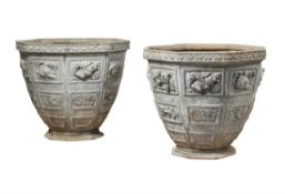 A pair of large lead garden urns