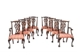 A set of eight mahogany dining chairs