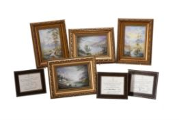 Four modern Royal Worcester hand painted plaques