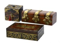 Y A group of three Victorian boxes