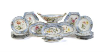 A Spode porcelain botanical part dessert service