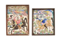 Two relief moulded polychrome painted tiles