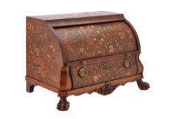 A Dutch walnut and marquetry inlaid desk box