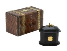 A Victorian stained oak and brass bound cigar box
