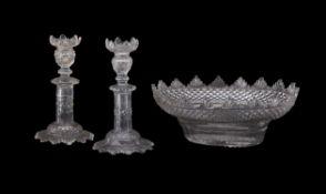Three items of flat-cut glass