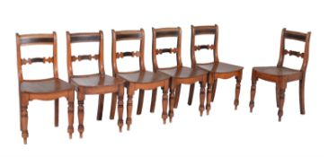 A set of six Regency chestnut side chairs