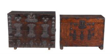 Two Korean hardwoodTwo Korean hardwood, probably elm, and metal mounted chests