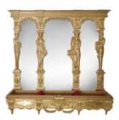 A giltwood mirror backed settle