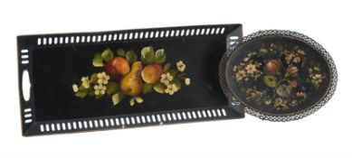 A painted tinware tray