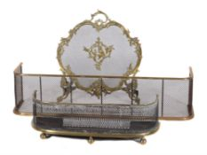 A French gilt metal and mesh firescreen in Rococo Revival style