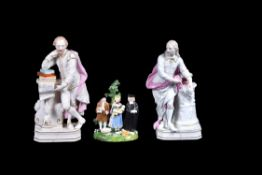 A pair of Derby porcelain models of John Milton and William Shakespeare