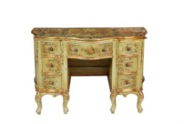 A polychrome painted and parcel gilt desk, bureau or dressing table
