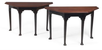 A pair of George II mahogany console tables