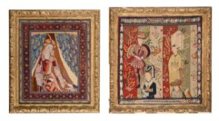 A Victorian giltwood framed tapestry panel