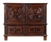 A Charles II oak and walnut chest