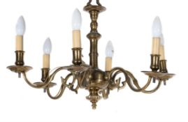 A Dutch or English brass six light chandelier
