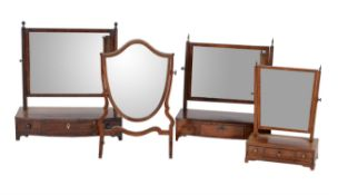 A group of four various dressing table mirrors