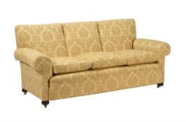 A Victorian damask style upholstered sofa