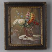 A pair of framed paintings on porcelain