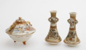 Asian ceramics including a pair of Japanese Satsuma small vases