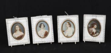 Y A set of four ivory framed portrait miniatures- & 3 prints