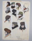 λ Film memorabilia- John Furniss- nine unframed costume designs for 'The Kremlin Letter' (1970)