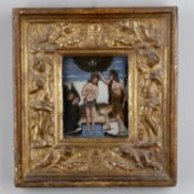 A 19th century North European reverse painting on glass of The Baptism of Christ by John The Baptist