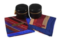 Christian Dior, two silk scarves and two boxes