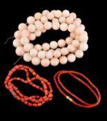 Y A coral bead necklace