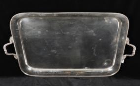 A large silver plated twin handled tea tray