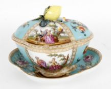 A Dresden tureen cover and stand