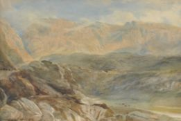 Attributed to David Cox Jnr (British 1809-1885) , Mountain landscape