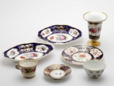 Early 19th century English porcelain to include; two Bloor Derby oval floral painted dishes