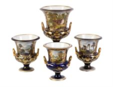 A garniture of three Derby blue-ground and gilt campana urns painted with titled landscape views in