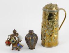 A gilt metal and porcelain coffee set