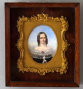 Y British School (mid-19th century)- a pair of portrait miniatures on ivory