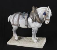 A Royal Copenhagen large porcelain model of a standing Percheron cart horse