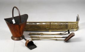 Fireplace furniture including a copper coal scuttle and conforming shovel
