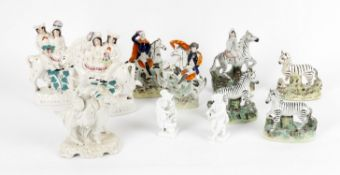 Collection of Staffordshire Zebras and animals