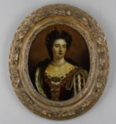 Pictures to include a hand coloured reverse print on glass of Queen Anne