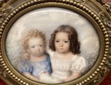 Y Early 19th century French school- portrait miniature on ivory of two children with lamb