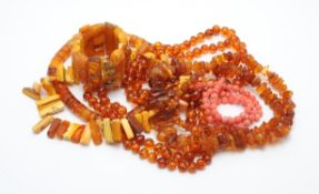 Two graduated polished amber bead necklaces