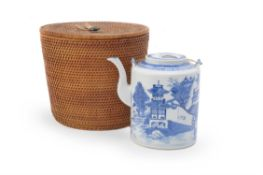 A Chinese blue and white teapot and cover