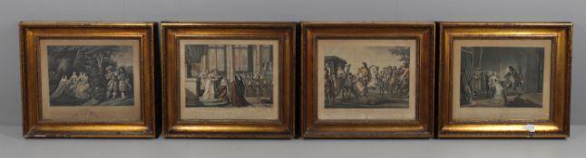 A set of four gilt framed hand tinted prints after Horace Vernet