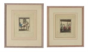† After Charles Doyley- two hand-coloured engravings